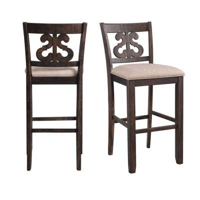 "2pc 30"" Stanford Swirl Back Barstool Set Smokey Walnut - Picket House Furnishings"