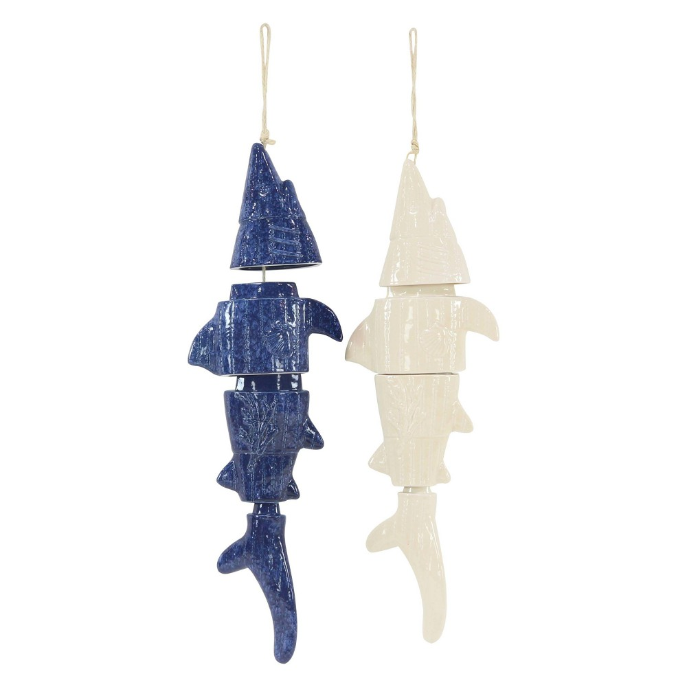 31H Ceramic Wind Chime - Brass - Olivia & May, Multi-Colored