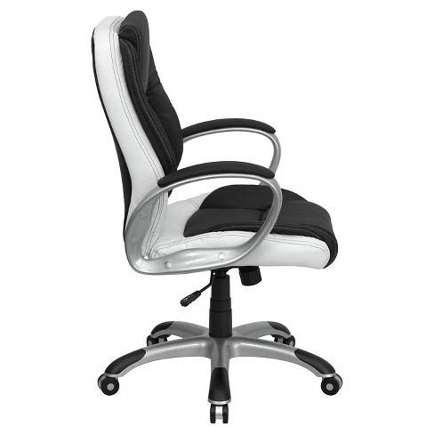 Executive Swivel Office Chair Black And White Leather Flash Furniture Target
