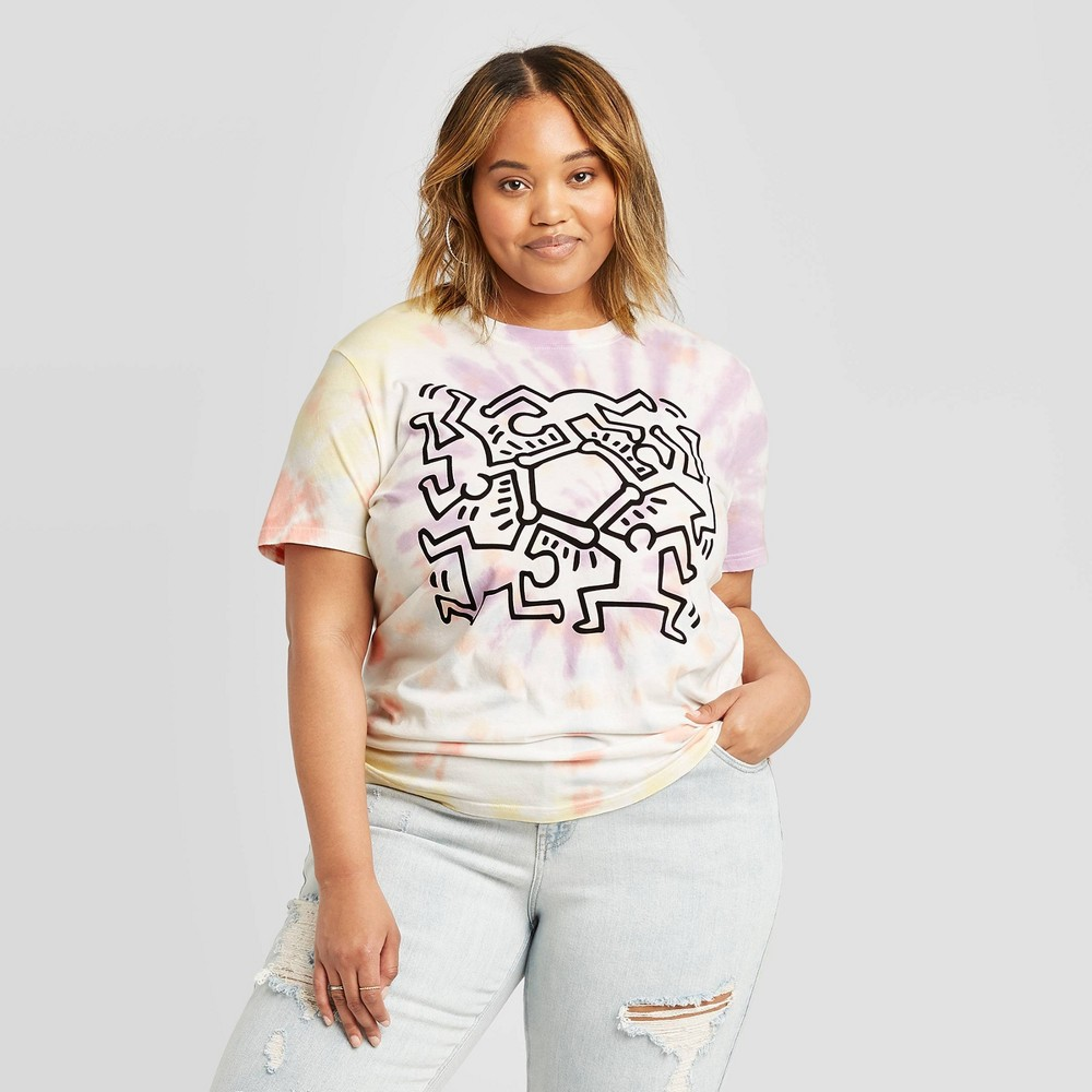 Image of Women's Keith Haring BF Short Sleeve Graphic T-Shirt (Juniors') - 1X, Women's, Size: 1XL, MultiColored
