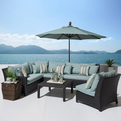 Deco 6pc Sectional And Table With Umbrella   RST Brands