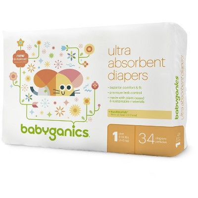Babyganics Diapers Jumbo Bag - Size 1 (34 ct)
