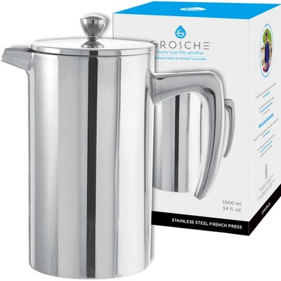 GROSCHE DUBLIN Stainless Steel Double Wall Insulated French Press, 34 fl oz. Capacity