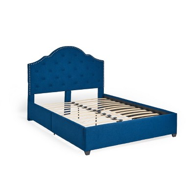 Queen Cordeaux Fully-Upholstered Bed Navy Blue - Christopher Knight Home