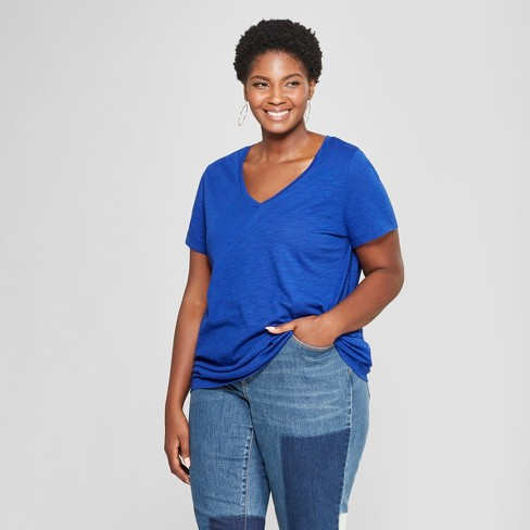 Women s Plus Size V-Neck Short Sleeve T-Shirt - Ava   Viv™   Target 5649c0faf