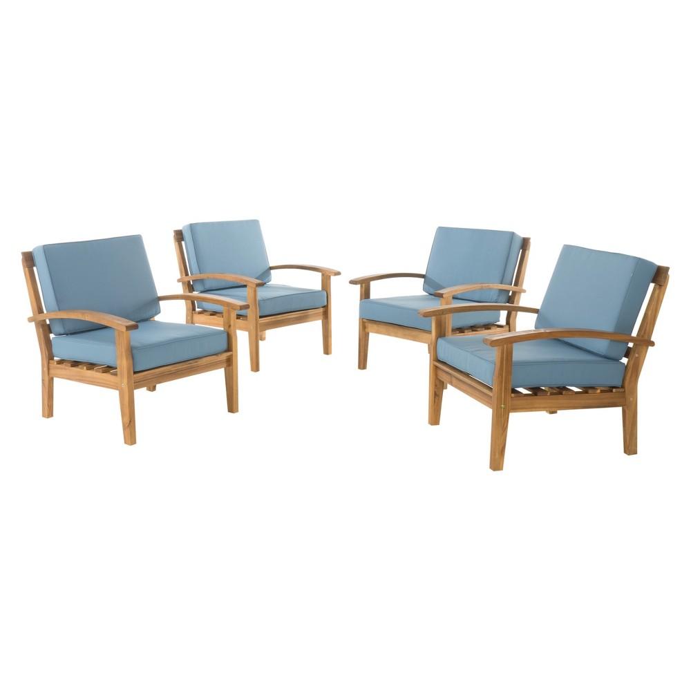 Peyton 4pk Acacia Wood Patio Club Chairs w/ Cushions - Blue - Christopher Knight Home