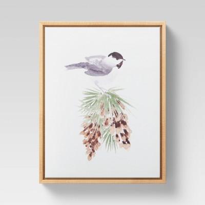 "11"" x 14"" Christmas Bird Framed Wall Canvas - Threshold™"