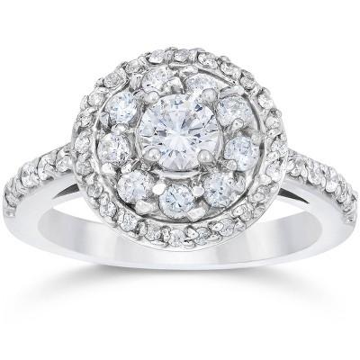 Pompeii3 1 5/8ct Double Halo Round Brilliant Cut Engagement Ring 14K White Gold
