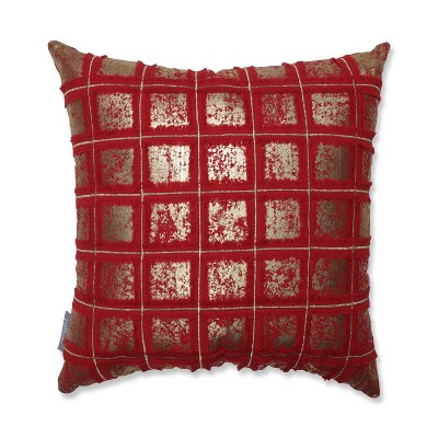Grid Square Throw Pillow Red/Gold - Pillow Perfect