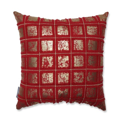 Grid Square Throw Pillow Red/Gold - Pillow Perfect - image 1 of 3
