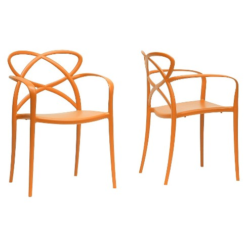 Huxx Plastic Stackable Modern Dining Chair - Orange (Set Of 2) - Baxton Studio - image 1 of 3