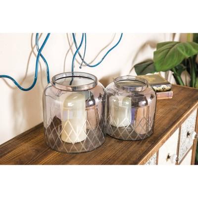 Set of 2 Glass/Iron Jar Candle Holders - Olivia & May