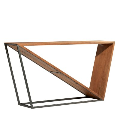 Modern Triangular Console Table Brown - Olivia & May