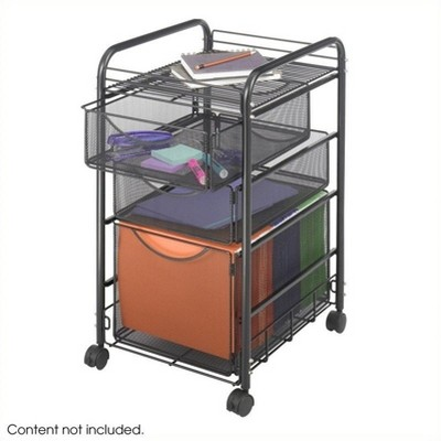 Steel Onyx Mesh File Cart with 1 File Drawer and 2 Small Drawers in Black-Safco