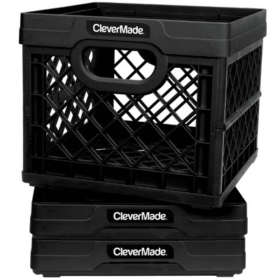 CleverMade MilkCrates Durable Plastic Stackable 25L Collapsible Utility Crate, Black (3-Pack)