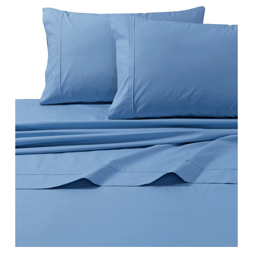 Cotton Percale Solid Sheet Set (Full) Sky Blue 300 Thread Count - Tribeca Living