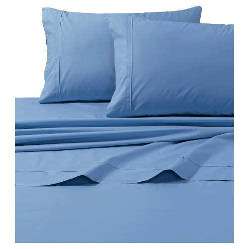 Cotton Percale Solid Sheet Set (Twin Extra Long) Sky Blue 300 Thread Count - Tribeca Living