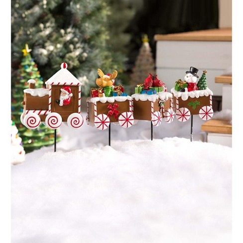 Gingerbread Train Holiday Garden Accent - Plow & Hearth - image 1 of 1