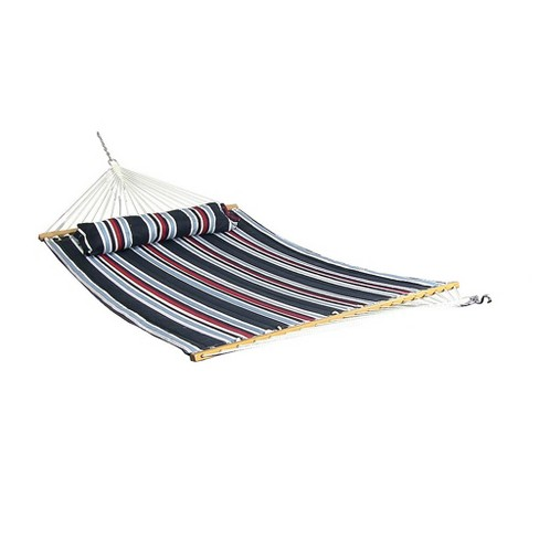 Nautical Stripe Quilted Double Fabric Hammock with 12' Stand - Blue/Red/White - Sunnydaze Decor - image 1 of 4