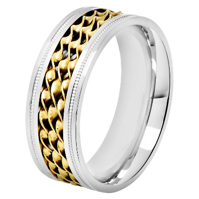 Men's Crucible Stainless Steel Two-Toned Triple Twisted Rope Inlay Milgrain - Silver/Gold (9)