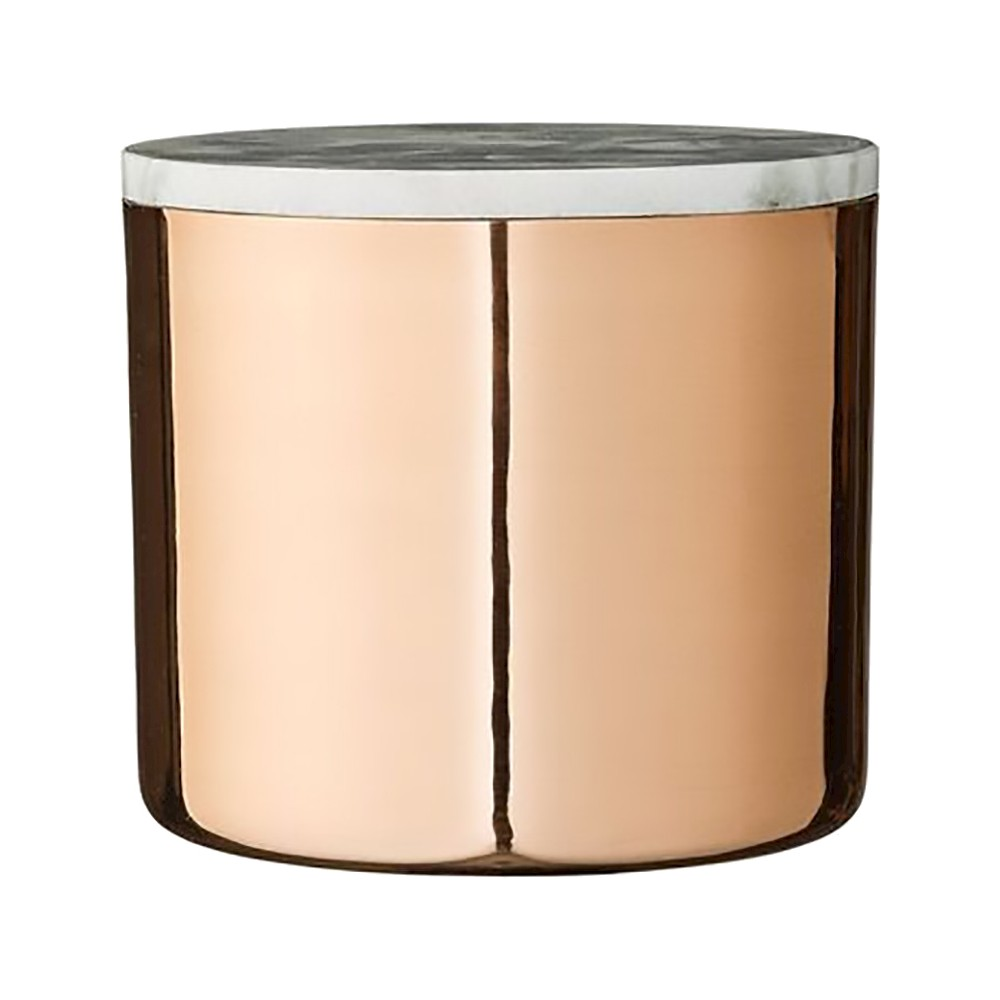 Metal Jar with Copper (Brown) Finish & Gray Marble Lid - 3R Studios
