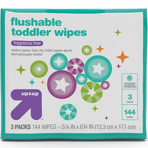 Toddler Unscented Wipes Flushable - 144ct - Up&Up™ - image 1 of 4