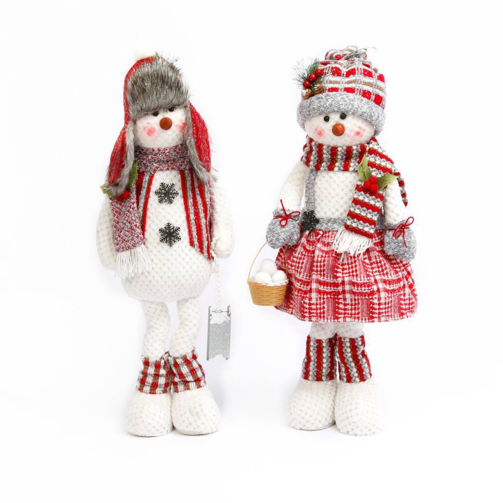 "Image of ""28""""/2ct Plush Snowmen Decorative Figurine Set - Gerson International"""