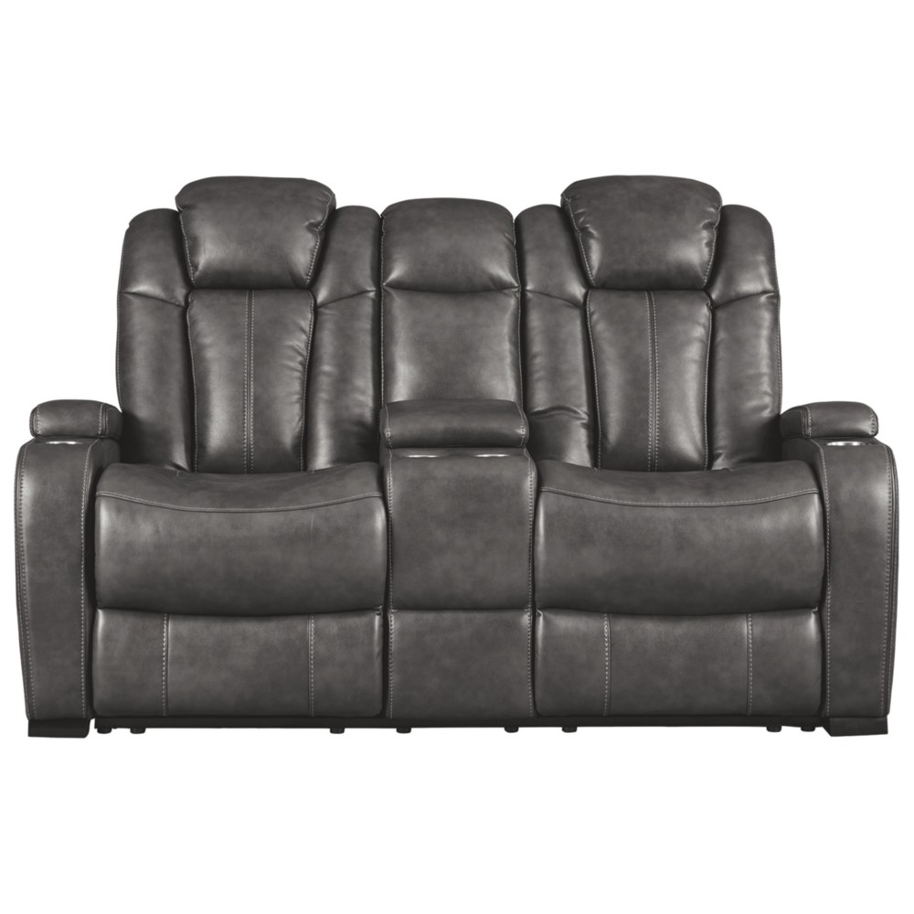 Turbulence Power Reclining Loveseat with Console/Adjustable Headrest Gray Heather - Signature Design by Ashley