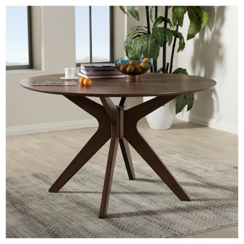 Monte Mid Century Modern Wood Finish 47 Inch Round Dining Table Walnut Brown Baxton Studio Target