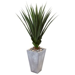 5'H Spiked Artificial Agave In Cement Planter - Nearly Natural