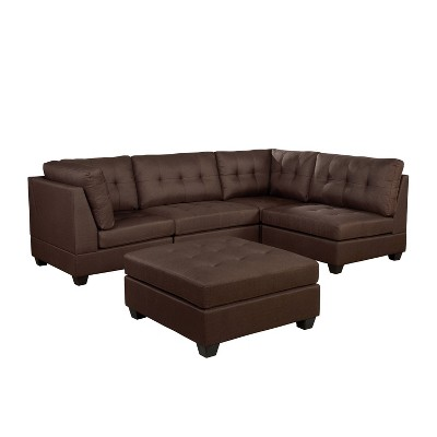Huxon Sectional with Ottoman Brown - HOMES: Inside + Out