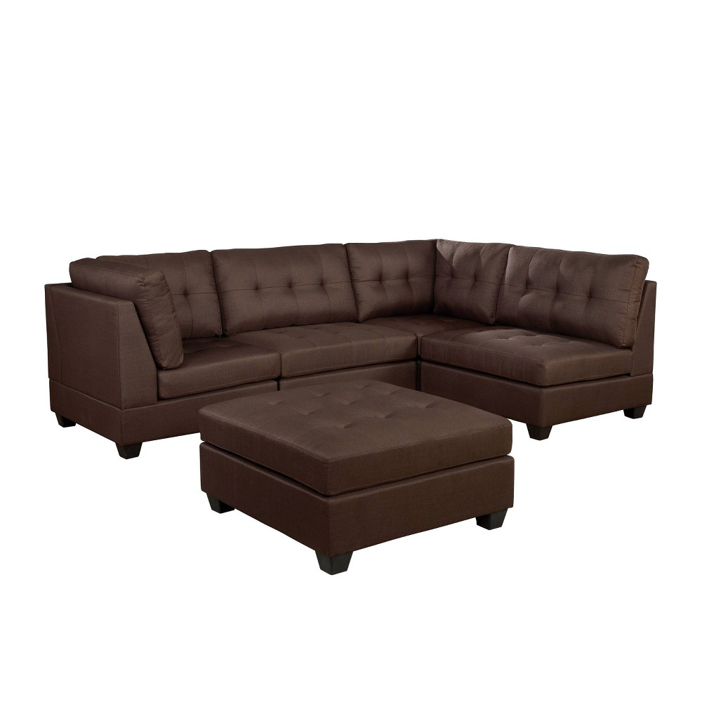 Promos Huxon Sectional with Ottoman Brown - HOMES: Inside + Out