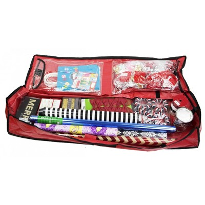 Home Basics Textured PVC Christmas Wrap Storage Bag, Red