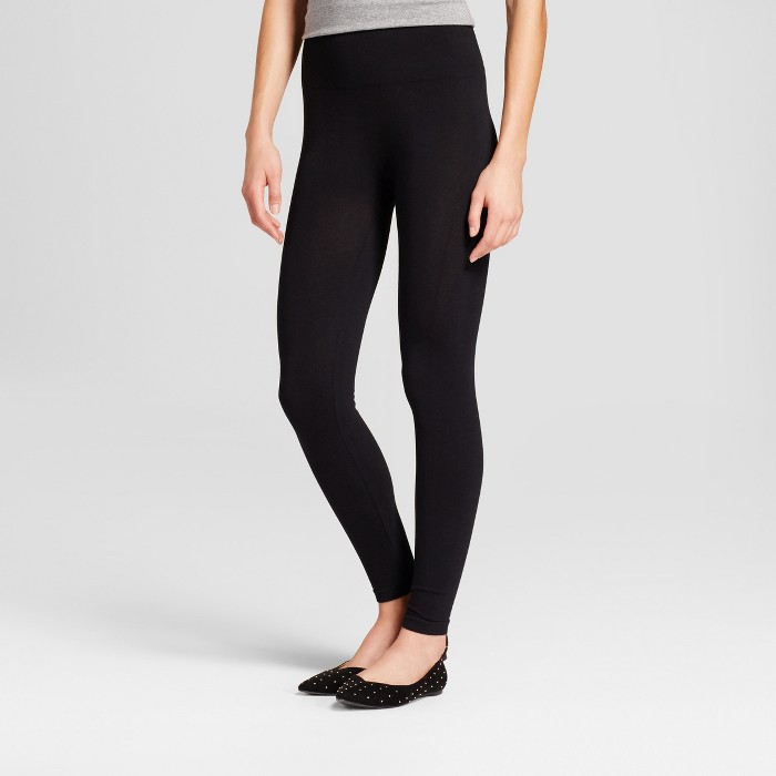 Women's High Waist Cotton Blend Seamless Leggings - A New Day™ Black - image 1 of 2