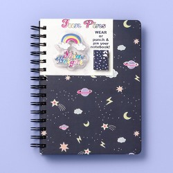 "6"" x 8"" Space Spiral Subject Journal with Pins - More Than Magic™ - Navy Blue"