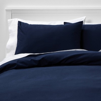 Full/Queen Easy-Care Duvet Cover & Sham Set Navy - Room Essentials™