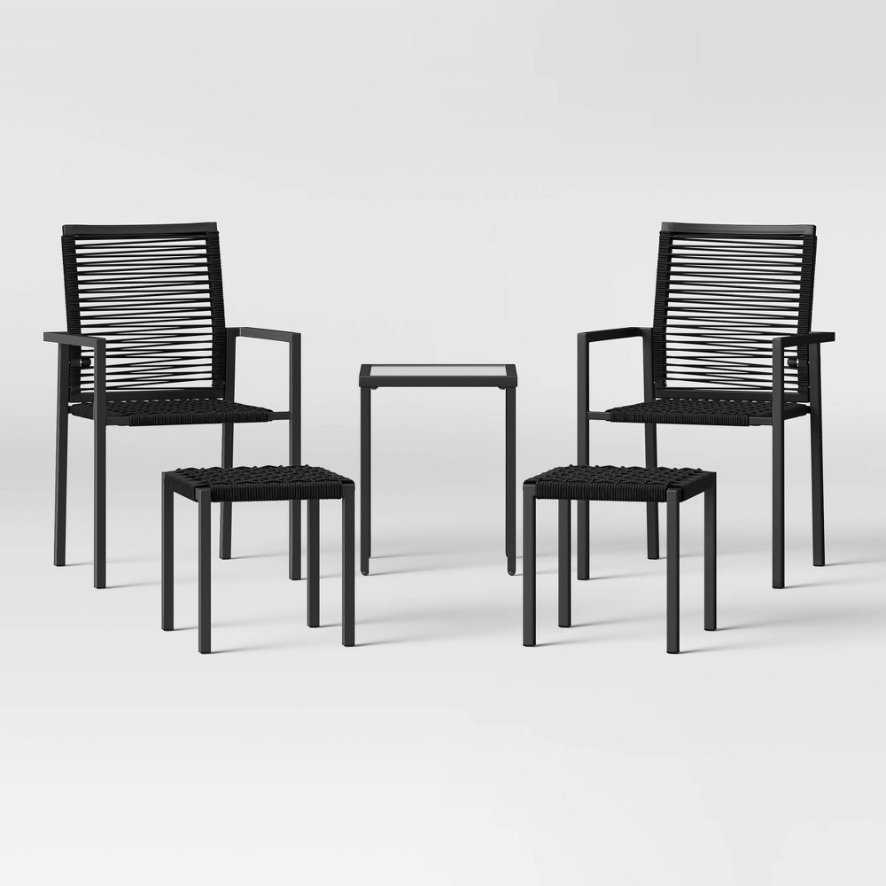 5pc Folding Rope Patio Stack Chair with Ottomans - Black - Project 62 was $500.0 now $250.0 (50.0% off)