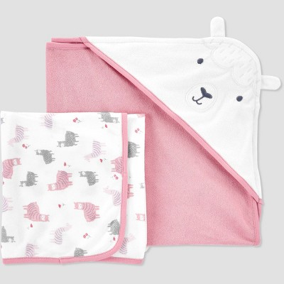 Baby Girls' Llama Hooded Bath Towel - Just One You® made by carter's Pink/White