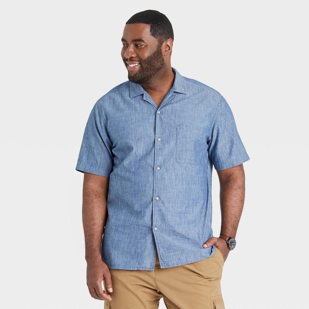 Men's Vintage Workwear Inspired Clothing Mens Big  Tall Standard Fit Camp Collar Short Sleeve Button-Down Shirt - Goodfellow  Co Indigo 5XBT $19.99 AT vintagedancer.com
