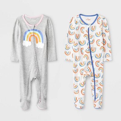 Baby Girls' 2pk Rainbow Rompers - Cat & Jack™ Gray/Blue Newborn