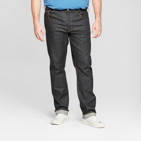 Men's Tall Slim Fit Raw Selvedge Denim Stretch Jeans - Goodfellow & Co™ Dark Rinse 42x36 - image 1 of 3