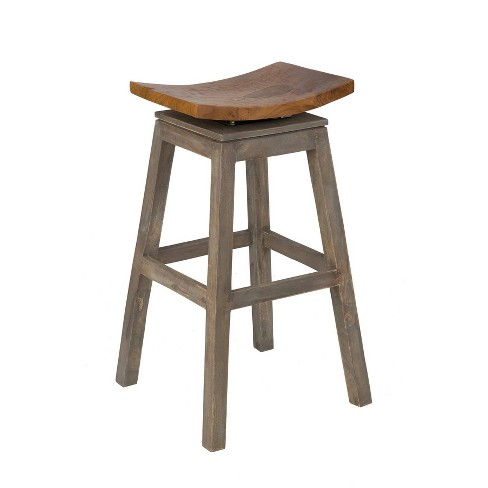 "24"" Lawton Teak Counter Stool Brown - East At Main - image 1 of 4"