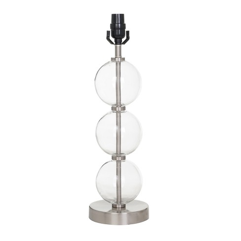 Large Stacked Clear Gl Ball Table Lamp Base Includes Energy Efficient Light Bulb Nickel Threshold