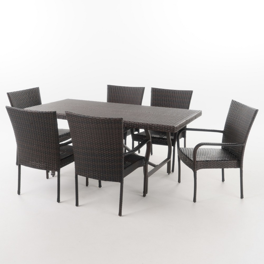 Warwick 7pc Wicker Dining Set - Brown - Christopher Knight Home