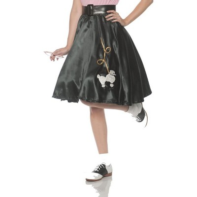 Satin Poodle Women's Adult Black Costume Skirt