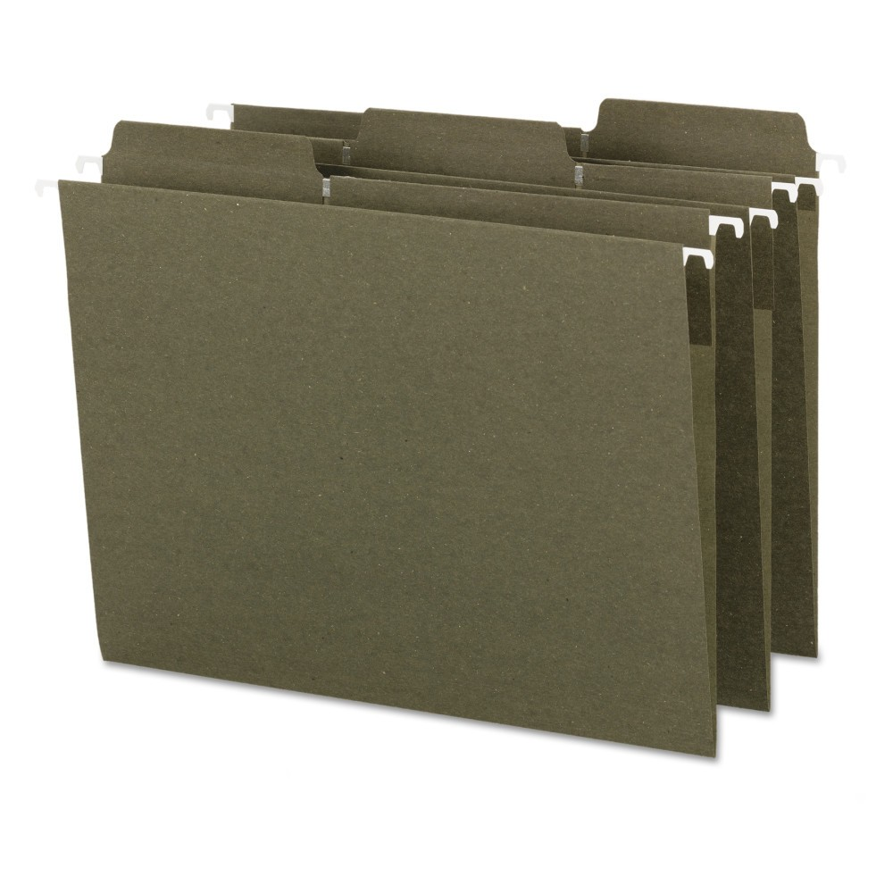 Fas Tab Recycled Hanging File Folders, Letter - Green (20 Per Box)