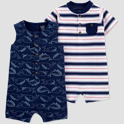 Baby Boys' 2pk Striped Whale Romper Set - Just One You® made by carter's Blue 3M