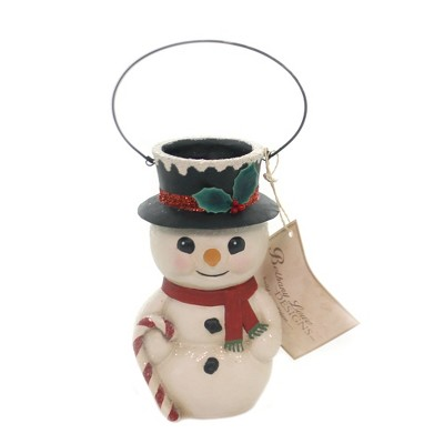 """Christmas 5.25"""" Snowman Bucket Head Carrot Nose Candy Cane  -  Decorative Figurines"""