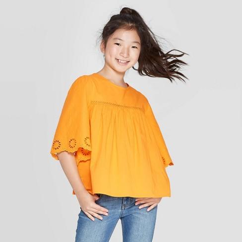 Girls' Woven Eyelet Top - Cat & Jack™ Orange - image 1 of 3