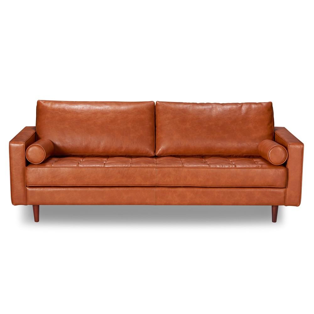 Zander Mid-Century Modern Leather Sofa Caramel - Aeon